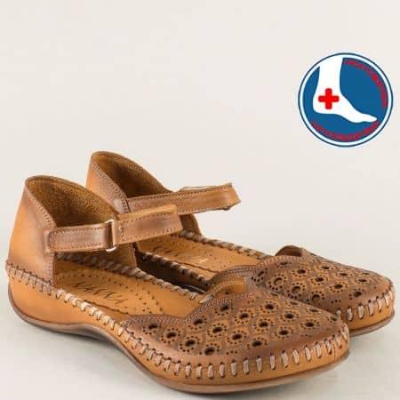 Ортопедични дамски сандали от кафява естествена кожа 5503k