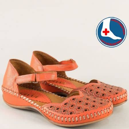 Оранжеви дамски сандали със затворени пръсти и пета 5503o