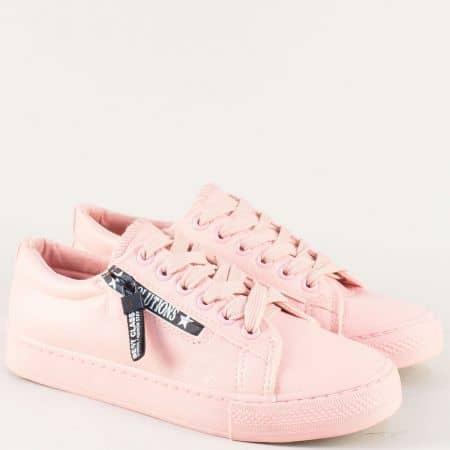 Розови дамски кецове с връзки и декоративен цип 5505rz