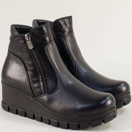 Естествена кожа дамски боти на платформа в черен цвят 5510ch1