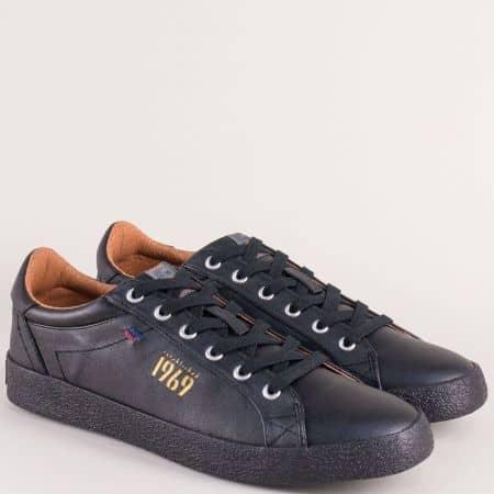 Немски мъжки кецове в черен цвят на равно ходило 5513604ch