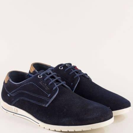Тъмно сини мъжки обувки от естествен велур- S. Oliver  5513635vs
