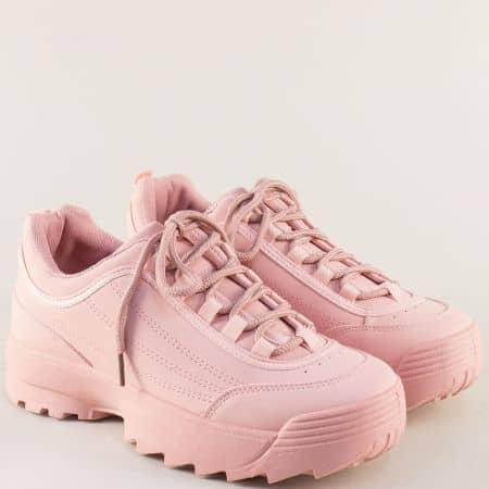 Дамски маратонки на платформа в розов цвят 5517-40rz