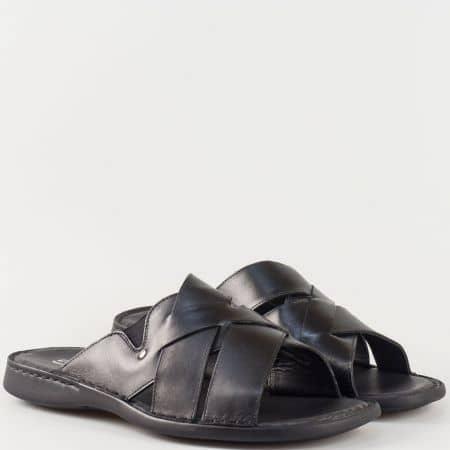 Мъжки ежедневни чехли произведени от изцяло естествена кожа на водещ български производител в черно  5519ch