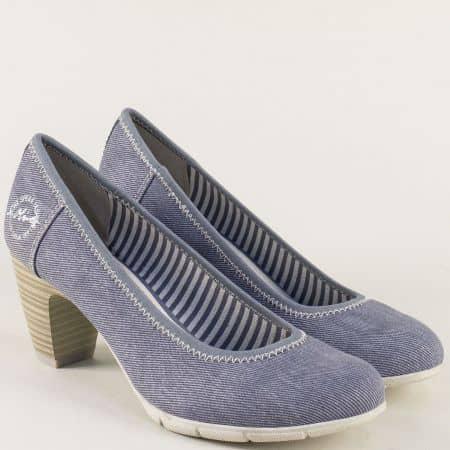 Сини дамски обувки на среден ток S.Oliver 5522405s