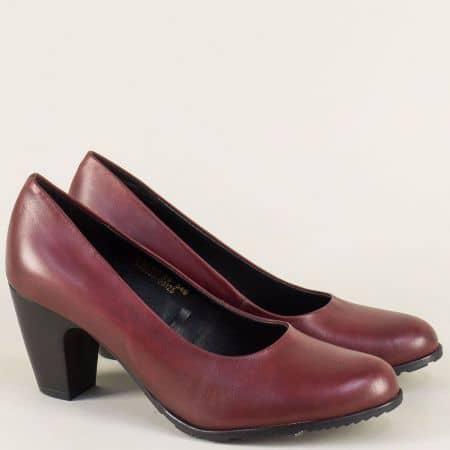 Немски дамски обувки от естествена кожа в цвят бордо 5522411bd