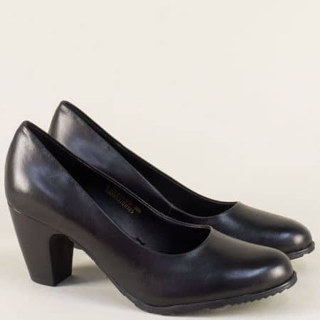 Черни дамски обувки на висок ток от естествена кожа 5522411ch