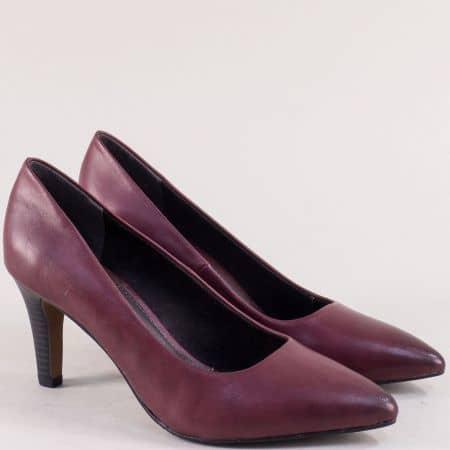 Дамски обувки на елегантен висок ток в цвят бордо 5522432bd