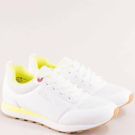 Дамски маратонки в бяло и неоново жълто- S.OLIVER 5523606b