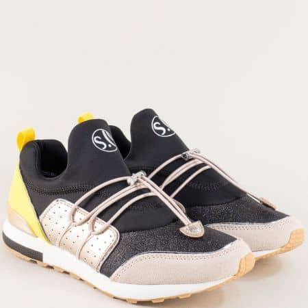 Дамски маратонки в жълто, розово, сиво и черно- S. Oliver  5523613ch