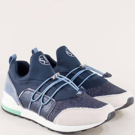 Дамски маратонки в сиво и синьо с Memory пяна и връзки 5523613s