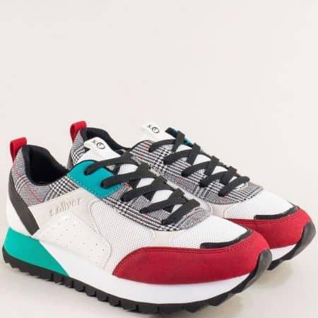 Дамски маратонки в бяло, сиво, зелено и червено- S. Oliver 5523614chvps