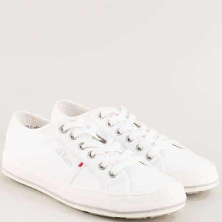 Бели дамски кецове на равно ходило- S. Oliver  5523640b