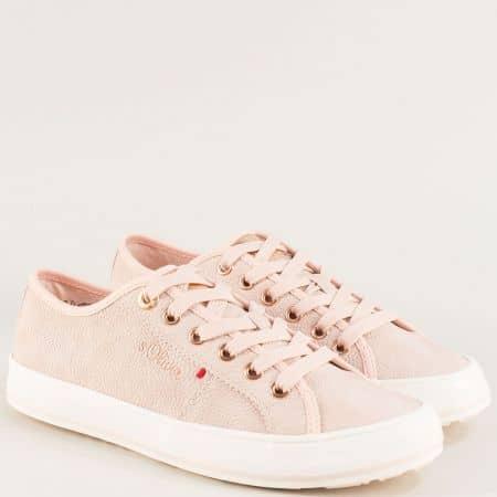 Розови дамски кецове с връзки на бяло ходило- S. Oliver  5523640rz