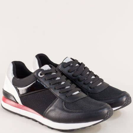 Дамски маратонки в черен цвят с ластик и Memory пяна 5523646ch