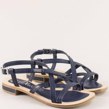 Кожени дамски сандали в тъмно син цвят- S.Oliver  5528120s