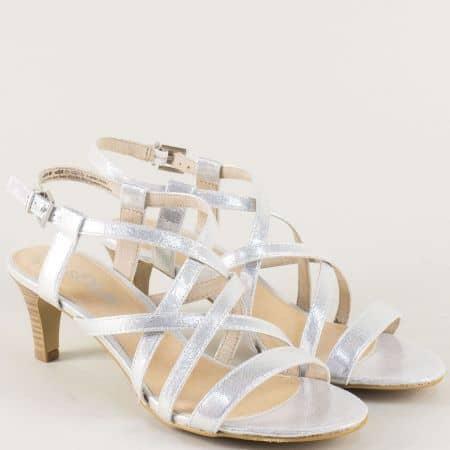 Сребърни дамски сандали на среден ток- S.Oliver  5528305sr