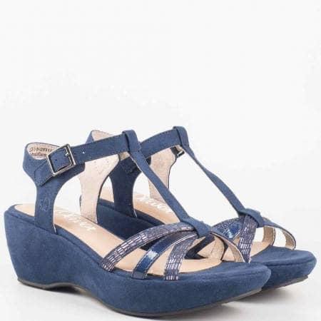 Дамски ежедневни сандали на платформа в син цвя- S.Oliver 5528315s