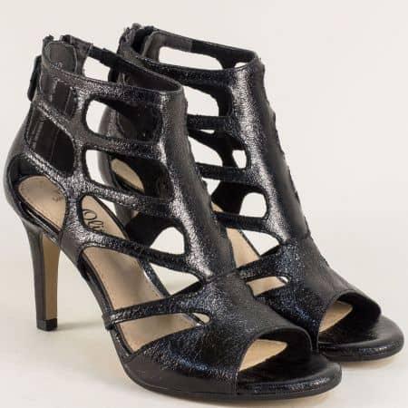 Черни дамски сандали с цип на елегантен висок ток  5528318ch