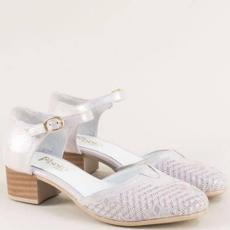 Сребристи дамски обувки от сатен и естествена кожа 55474sl