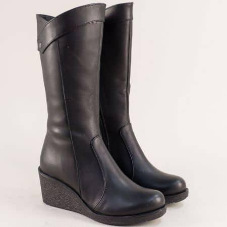 Черни дамски ботуши от естествена кожа на клин ходило 55540ch