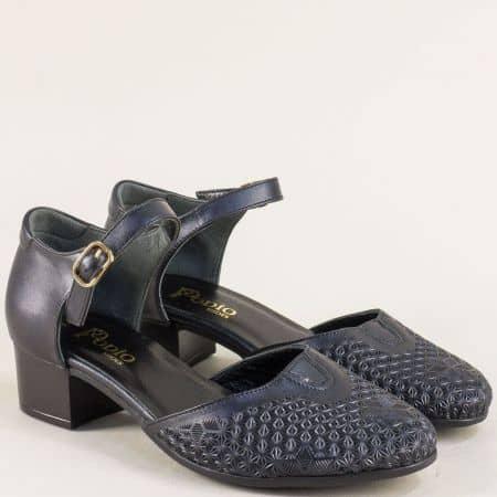 Кожени дамски обувки в черен цвят на нисък ток  55474ch
