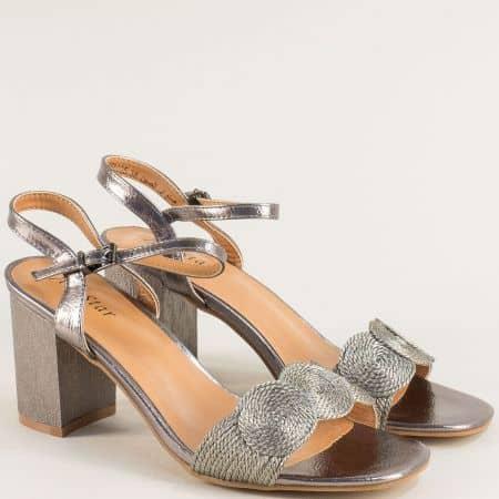 Дамски сандали на висок ток в цвят бронз 558005brz