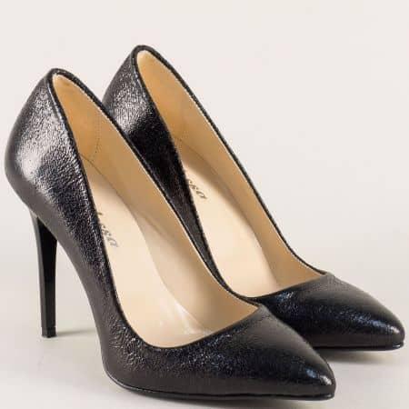 Черни дамски обувки на елегантен висок ток 5596ch