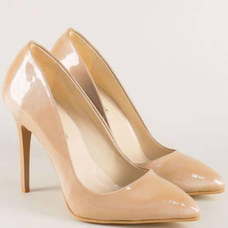 Дамски обувки на елегантен висок ток в бежов цвят 5596lbj