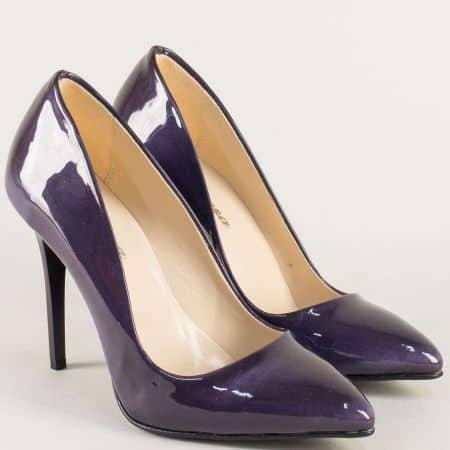Тъмно лилави дамски обувки на елегантен висок ток 5596ll