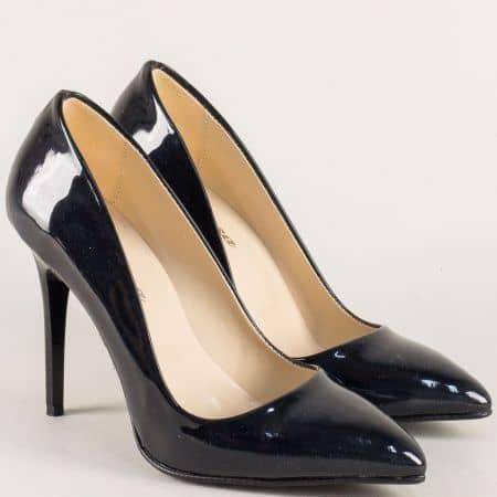 Тъмно сини дамски обувки стилето на висок ток 5596ls