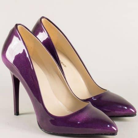 Дамски обувки стилето на елегантен висок ток в лилаво 5596lsl