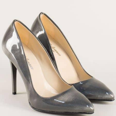 Дамски обувки на елегантен висок ток в сив цвят 5596lsv