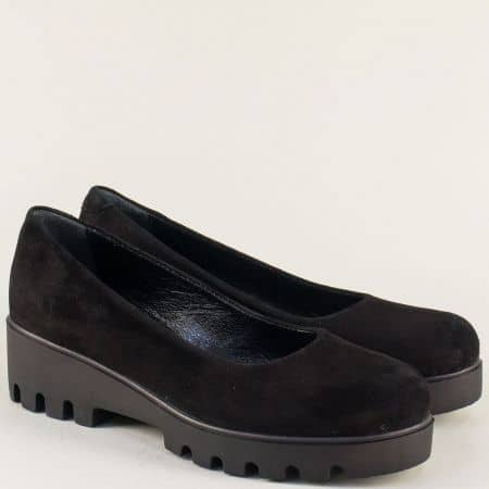 Велурени дамски обувки в черно на комфортна платформа 560251vch