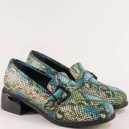 Дамски обувки в синьо, зелено, жълто, черно и бежово  5603zps