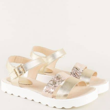 Златисти дамски сандали на равно ходило от естествена кожа 5605939zl