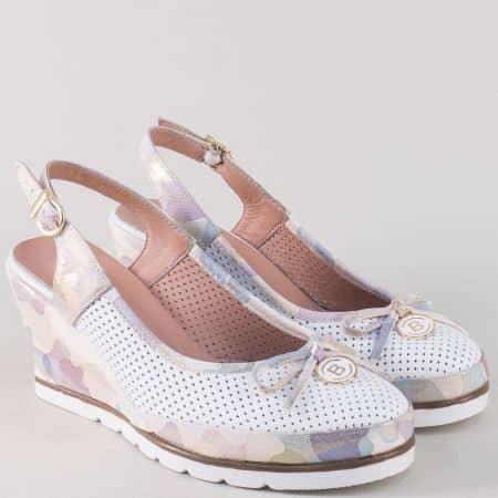 Пъстри дамски обувки на клин ходило с отворена пета  5611bps