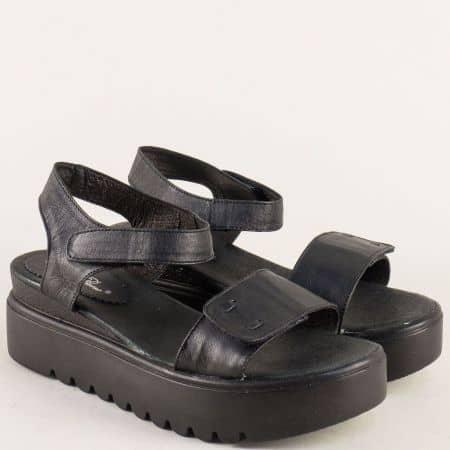 Черни дамски сандали на платформа с кожена стелка 561741013ch