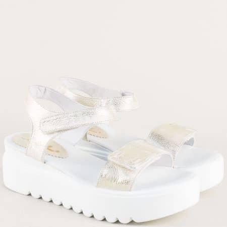 Златисти дамски сандали от естествена кожа на стабилна платформа 561741013zl
