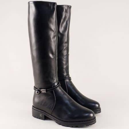 Дамски ботуши в черен цвят на нисък ток с грайфер 5651977ch