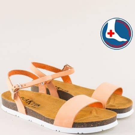 Оранжеви дамски сандали от естествен набук- PLAKTON 565520no