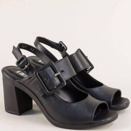 Черни дамски сандали с две катарами и кожена стелка 565715ch