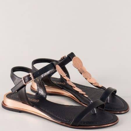 Черни дамски сандали с лента между пръстите 56817ch