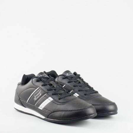 Мъжки маратонки GRAND ATTACK на удобно и леко ходило в черен цвят с акценти в бяло 56836-45ch