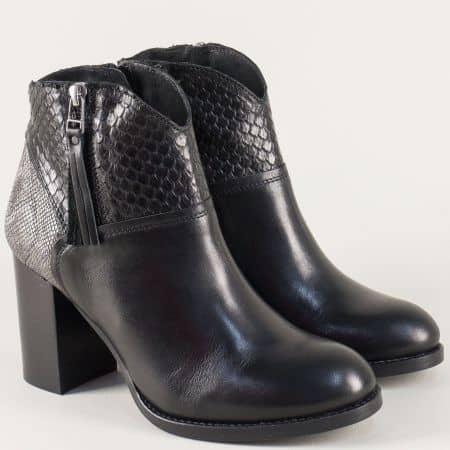 Дамски боти в черно от естествена кожа на висок ток 57261ch