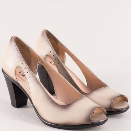 Бежови дамски обувки с отворени пръсти и кожена стелка 5731923bj