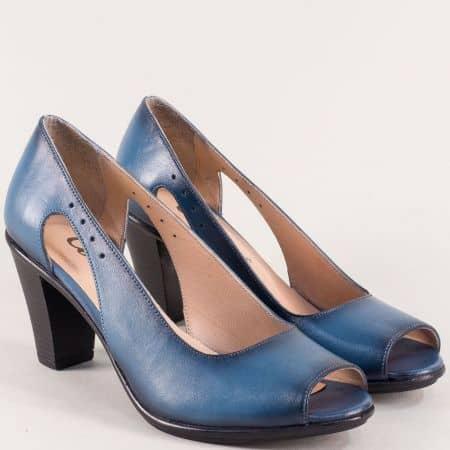 Сини дамски обувки с отворени пръсти на висок ток 5731923s
