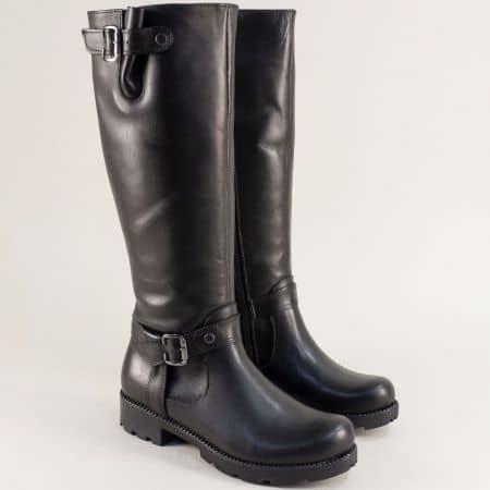 Дамски черни ботуши от естествена кожа на нисък ток 573ch