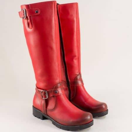 Червени дамски ботуши от естетвена кожа на нисък ток 573chv