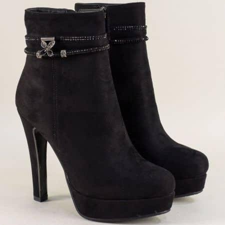Дамски елегантни боти на висок тънък ток в черен цвят 574682vch